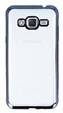 Eiroo Color Fit Samsung Galaxy J3 2016 Siyah Kenarlı Şeffaf Silikon Kılıf