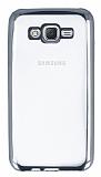 Samsung Galaxy J7 Silver Kenarlı Şeffaf Silikon Kılıf
