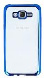 Eiroo Color Fit Samsung Galaxy J7 Mavi Kenarlı Şeffaf Silikon Kılıf