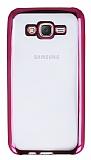 Samsung Galaxy J7 Pembe Kenarlı Şeffaf Silikon Kılıf