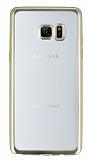Samsung Galaxy Note FE Gold Kenarlı Şeffaf Silikon Kılıf