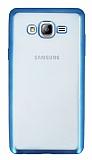 Samsung Galaxy On7 Mavi Kenarlı Şeffaf Silikon Kılıf