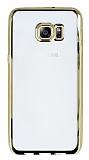 Samsung Galaxy S6 Edge Plus Gold Kenarlı Şeffaf Silikon Kılıf