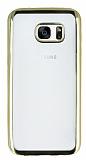 Samsung Galaxy S7 Edge Gold Kenarlı Şeffaf Silikon Kılıf