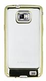 Eiroo Color Fit Samsung i9100 Galaxy S2 Gold Kenarlı Şeffaf Silikon Kılıf