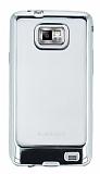 Eiroo Color Fit Samsung i9100 Galaxy S2 Silver Kenarlı Şeffaf Silikon Kılıf