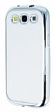 Samsung i9300 Galaxy S3 Silver Kenarlı Şeffaf Silikon Kılıf