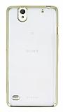 Sony Xperia C4 Gold Kenarlı Şeffaf Silikon Kılıf