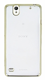 Eiroo Color Fit Sony Xperia C4 Gold Kenarl� �effaf Silikon K�l�f