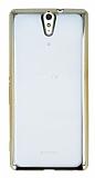 Sony Xperia C5 Ultra Gold Kenarlı Şeffaf Silikon Kılıf