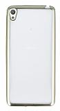 Sony Xperia E5 Gold Kenarlı Şeffaf Silikon Kılıf