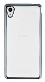 Sony Xperia M4 Aqua Silver Kenarlı Şeffaf Silikon Kılıf