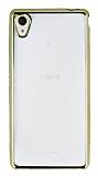 Sony Xperia M4 Aqua Gold Kenarlı Şeffaf Silikon Kılıf