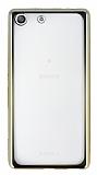 Eiroo Color Fit Sony Xperia M5 Gold Kenarlı Şeffaf Silikon Kılıf