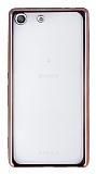 Eiroo Color Fit Sony Xperia M5 Rose Gold Kenarlı Şeffaf Silikon Kılıf