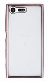 Eiroo Color Fit Sony Xperia X Compact Rose Gold Kenarlı Şeffaf Silikon Kılıf