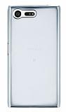 Eiroo Color Fit Sony Xperia X Compact Silver Kenarlı Şeffaf Silikon Kılıf