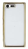 Eiroo Color Fit Sony Xperia X Compact Gold Kenarlı Şeffaf Silikon Kılıf