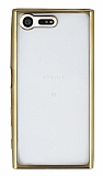 Sony Xperia X Compact Gold Kenarlı Şeffaf Silikon Kılıf