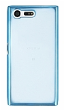 Sony Xperia X Compact Mavi Kenarlı Şeffaf Silikon Kılıf