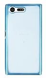 Eiroo Color Fit Sony Xperia X Compact Mavi Kenarlı Şeffaf Silikon Kılıf