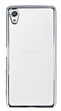 Eiroo Color Fit Sony Xperia X Silver Kenarlı Şeffaf Silikon Kılıf