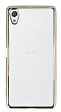 Sony Xperia X Gold Kenarlı Şeffaf Silikon Kılıf