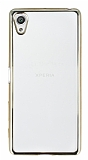 Eiroo Color Fit Sony Xperia X Gold Kenarl� �effaf Silikon K�l�f