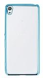 Eiroo Color Fit Sony Xperia XA Mavi Kenarlı Şeffaf Silikon Kılıf