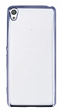 Eiroo Color Fit Sony Xperia XA Dark Silver Kenarlı Şeffaf Silikon Kılıf