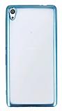 Sony Xperia XA Ultra Mavi Kenarlı Şeffaf Silikon Kılıf