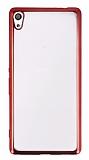 Eiroo Color Fit Sony Xperia XA Ultra Kırmızı Kenarlı Şeffaf Silikon Kılıf