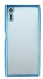 Sony Xperia XZ Mavi Kenarlı Şeffaf Silikon Kılıf
