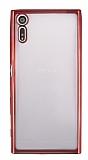 Sony Xperia XZ Kırmızı Kenarlı Şeffaf Silikon Kılıf