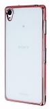 Sony Xperia Z3 Rose Gold Kenarlı Şeffaf Silikon Kılıf