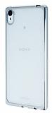 Sony Xperia Z3 Plus Silver Kenarlı Şeffaf Silikon Kılıf