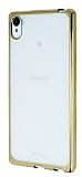 Sony Xperia Z3 Plus Gold Kenarlı Şeffaf Silikon Kılıf