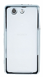 Sony Xperia Z3 Compact Silver Kenarlı Şeffaf Silikon Kılıf