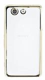 Sony Xperia Z3 Compact Gold Kenarlı Şeffaf Silikon Kılıf