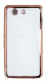Sony Xperia Z3 Compact Rose Gold Kenarlı Şeffaf Silikon Kılıf