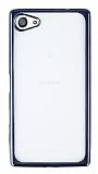 Sony Xperia Z5 Compact Dark Silver Kenarlı Şeffaf Silikon Kılıf