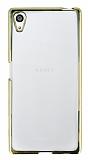 Sony Xperia Z5 Gold Kenarlı Şeffaf Silikon Kılıf