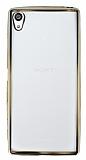 Sony Xperia Z5 Premium Gold Kenarlı Şeffaf Silikon Kılıf