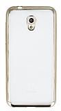 Vodafone Smart 7 Style Gold Kenarlı Şeffaf Silikon Kılıf