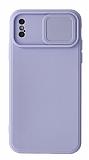Eiroo Color Lens iPhone X / XS Kamera Korumalı Mor Silikon Kılıf