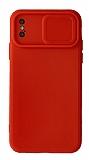 Eiroo Color Lens iPhone X / XS Kamera Korumalı Kırmızı Silikon Kılıf