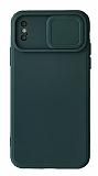 Eiroo Color Lens iPhone X / XS Kamera Korumalı Yeşil Silikon Kılıf