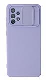 Eiroo Color Lens Samsung Galaxy A72 / A72 5G Kamera Korumalı Mor Silikon Kılıf