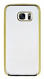 Eiroo Color Samsung Galaxy S7 Gold Kenarlı Şeffaf Silikon Kılıf