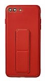 Eiroo Color Stand iPhone 7 Plus / 8 Plus Kırmızı Silikon Kılıf
